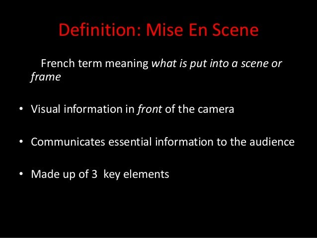 mise en scene essay Example of film analysis using mise-en-scene the opening scenes of the  godfather part three, (coppola, 1991), we see the family.