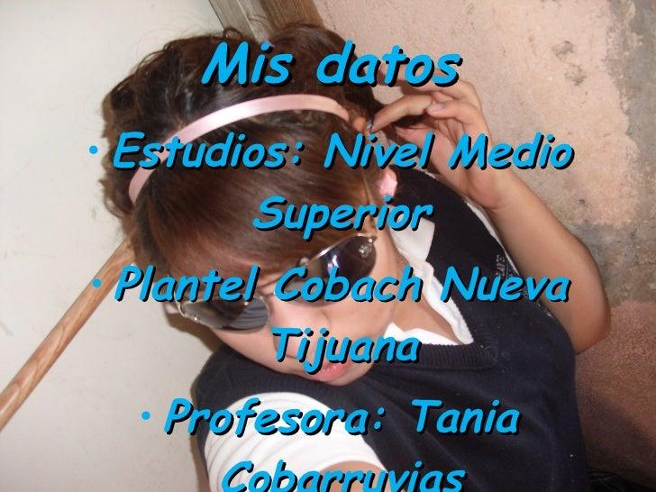 Mis datos <ul><li>Estudios: Nivel Medio Superior </li></ul><ul><li>Plantel Cobach Nueva Tijuana </li></ul><ul><li>Profesor...