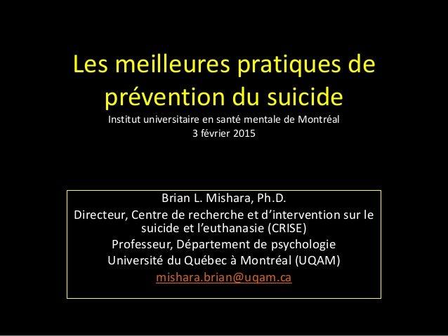 Les meilleures pratiques de prévention du suicide Institut universitaire en santé mentale de Montréal 3 février 2015 Brian...