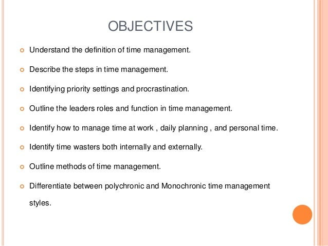 Example sentences containing 'time management'