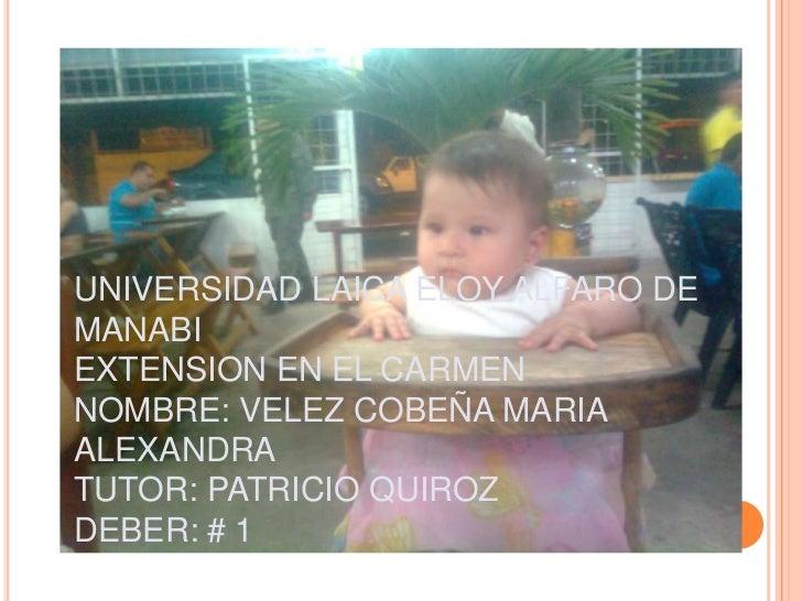 UNIVERSIDAD LAICA ELOY ALFARO DEMANABIEXTENSION EN EL CARMENNOMBRE: VELEZ COBEÑA MARIAALEXANDRATUTOR: PATRICIO QUIROZDEBER...
