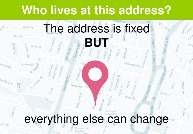 Who lives at this address? The address is fixed BUT everything else can change