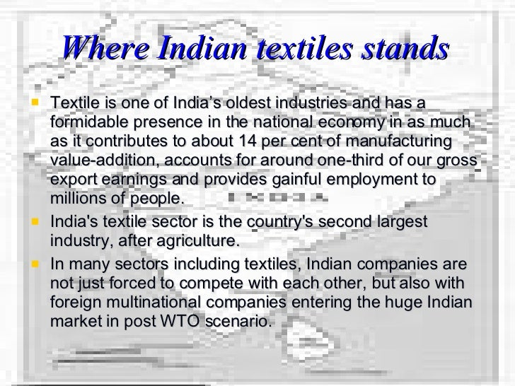 globalisation in the textiles industry An analysis into the impact of globalization on the clothing the clothing industry in sa has benefited from the largest clothing and textile cluster can.