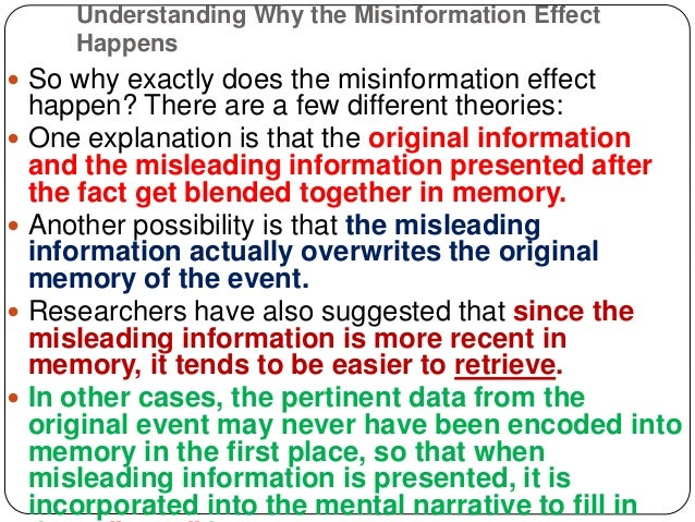 Misinformation effect and how it works