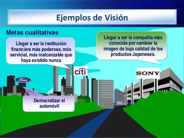 Ejemplos de VisiónMetas cualitativas                                   Llegar a ser la compañía más    Llegar a ser la ins...