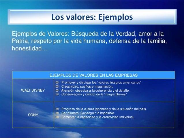 Los valores: EjemplosEjemplos de Valores: Búsqueda de la Verdad, amor a laPatria, respeto por la vida humana, defensa de l...