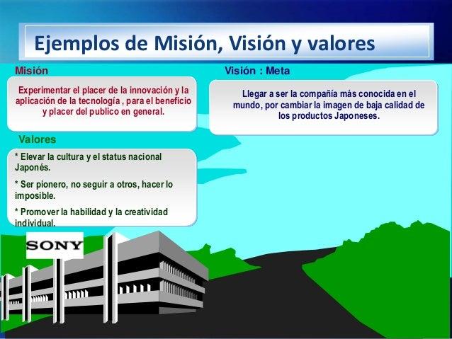 Ejemplos de Misión, Visión y valoresMisión                                            Visión : Meta Experimentar el placer...