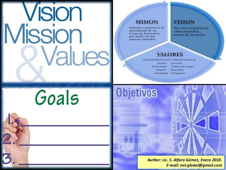 MISIÓN,  VISION, VALORES, OBJETIVOS. Author: Lic. S. Alfaro Gómez, Enero 2010. E-mail: net.global@gmail.com