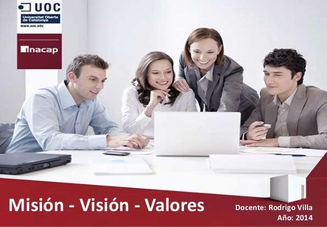 Misión - Visión - Valores Docente: Rodrigo Villa Año: 2014