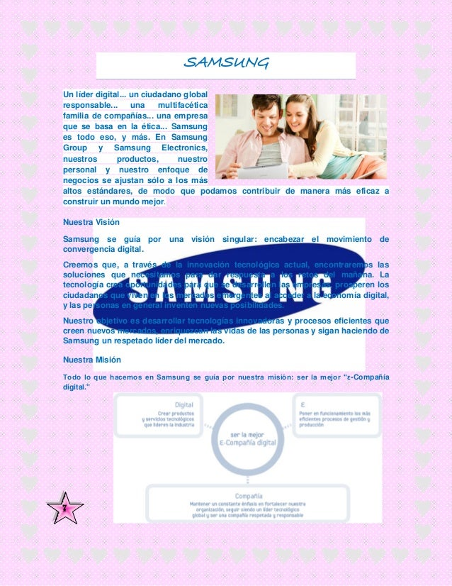 samsung vision mision Through its corporate mission statement, verizon communications, inc aligns human resource activities with the corporate vision statement, based on terms and emphases that are common between the two statements.