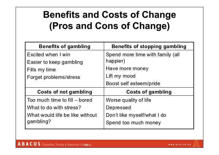 Gambling costs benefits feature gambling online