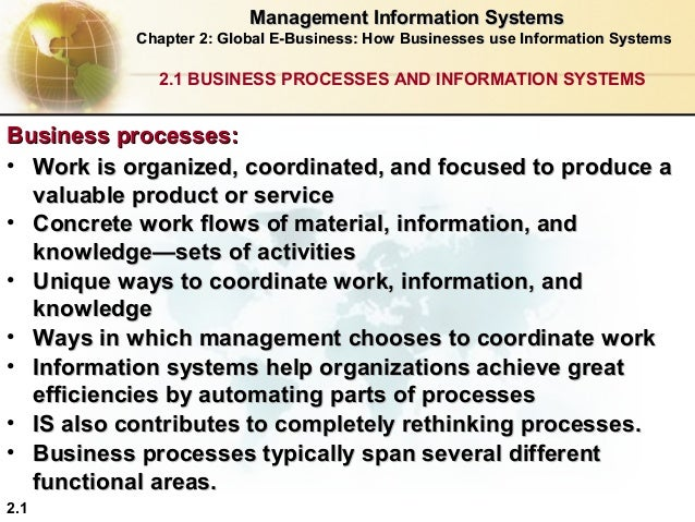 Management Information Systems Chapter 2: Global E-Business: How Businesses use Information Systems  2.1 BUSINESS PROCESSE...
