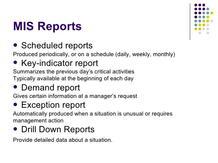 Mis report means in accounting