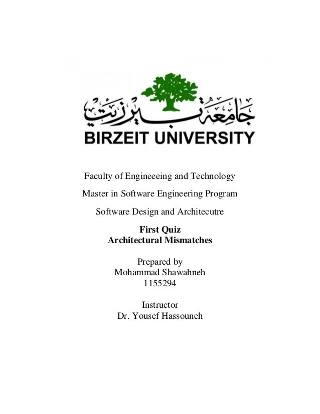 Faculty Of Engineeeing And Technology Master In Software Engineering  Program Software Design And Architecutre First Quiz How Are The  Architectural ...
