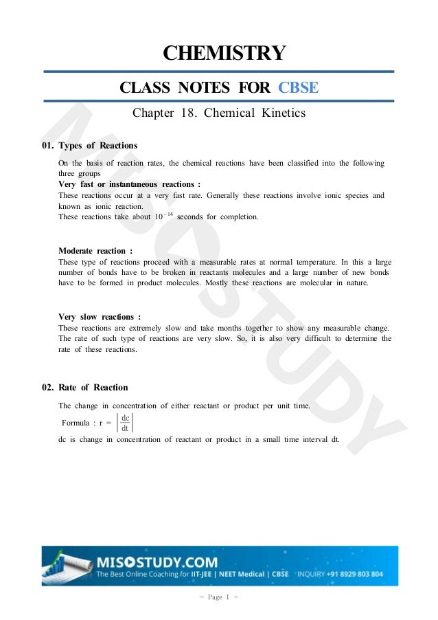 Chemical Kinetics Chemistry 12th Class Notes for CBSE 2020