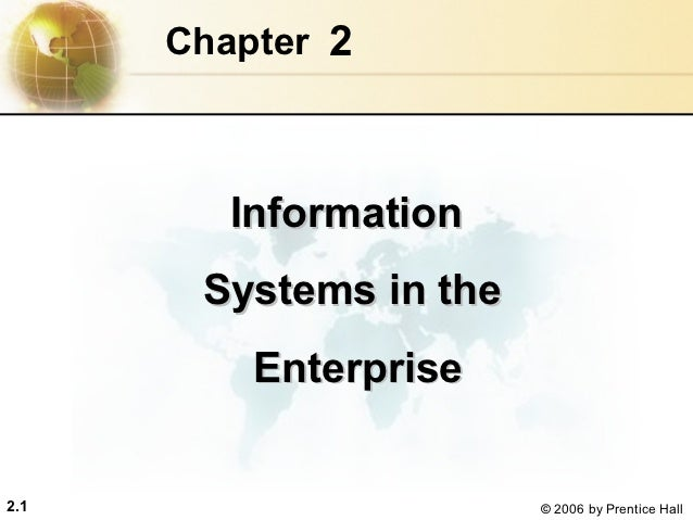 Chapter 2         Information       Systems in the          Enterprise2.1                     © 2006 by Prentice Hall