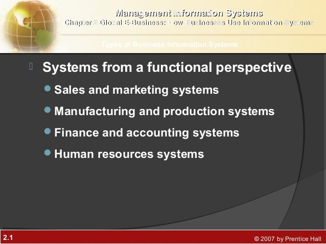 2.1 © 2007 by Prentice Hall Systems from a functional perspectiveSales and marketing systemsManufacturing and productio...