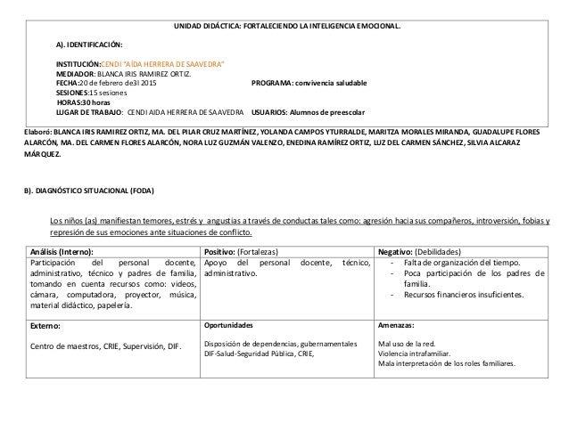"""UNIDAD DIDÁCTICA: FORTALECIENDO LA INTELIGENCIA EMOCIONAL. A). IDENTIFICACIÓN: INSTITUCIÓN:CENDI """"AÍDA HERRERA DE SAAVEDRA..."""