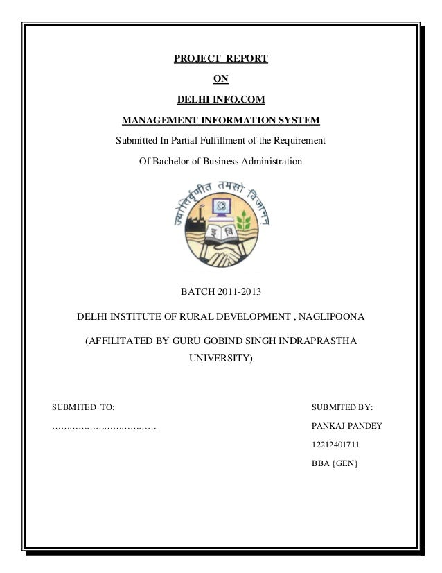 PROJECT REPORT ON DELHI INFO.COM MANAGEMENT INFORMATION SYSTEM Submitted In Partial Fulfillment of the Requirement Of Bach...
