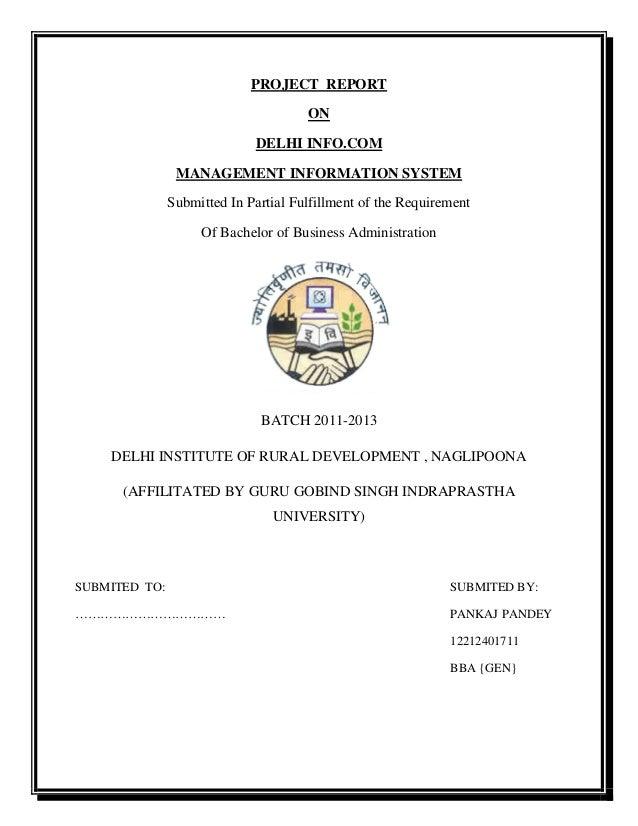 Mis project report on DELHI INFO COM MANAGEMENT INFORMATION
