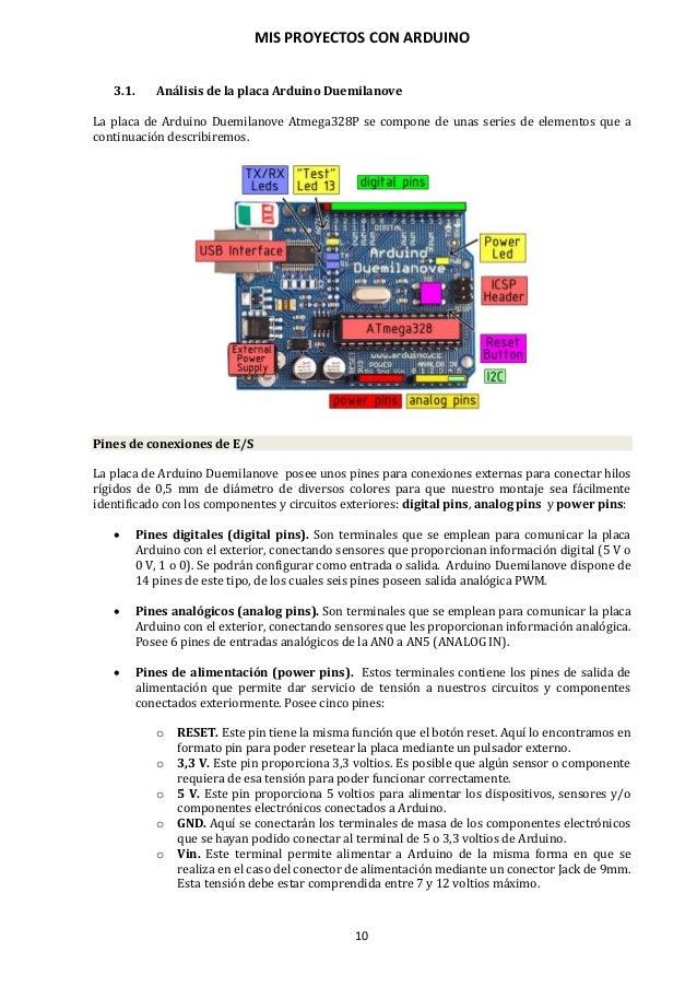 MIS PROYECTOS CON ARDUINO 11 Esquema de conexionado de los pines digitales y analógicos al microcontrolador Atmega328P. NO...