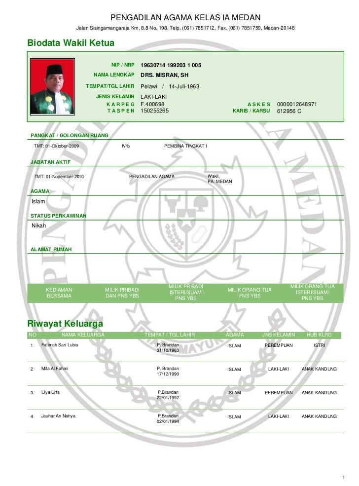 PENGADILAN AGAMA KELAS IA MEDAN                         Jalan Sisingamangaraja Km. 8.8 No. 198, Telp. (061) 7851712, Fax. ...