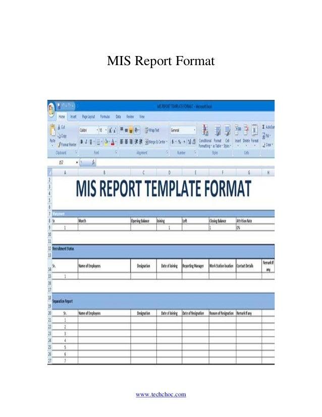 Mis report format