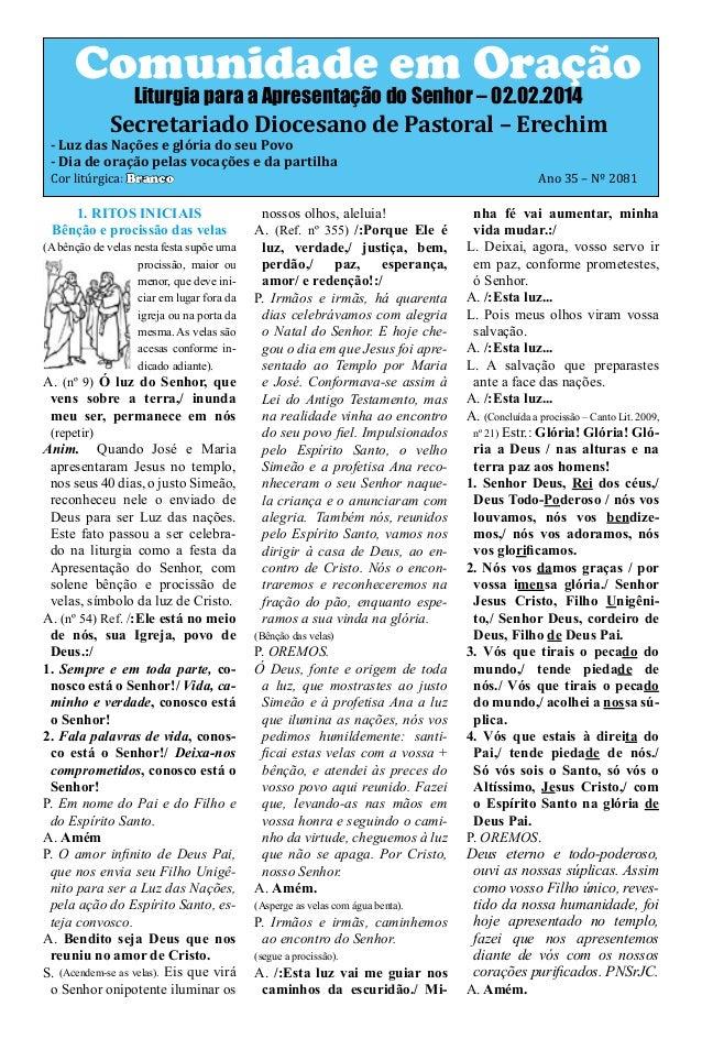 Comunidade em Oração Liturgia para a Apresentação do Senhor – 02.02.2014  Secretariado Diocesano de Pastoral – Erechim  - ...