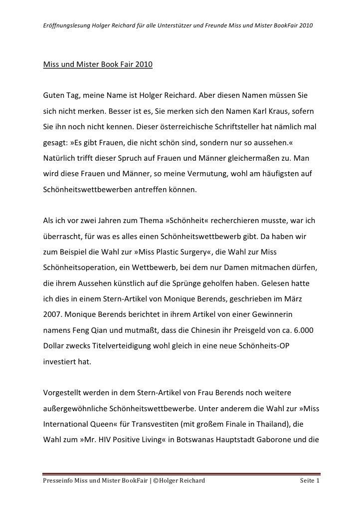 Miss und Mister Book Fair 2010<br />Guten Tag, meine Name ist Holger Reichard. Aber diesen Namen müssen Sie sich nicht mer...
