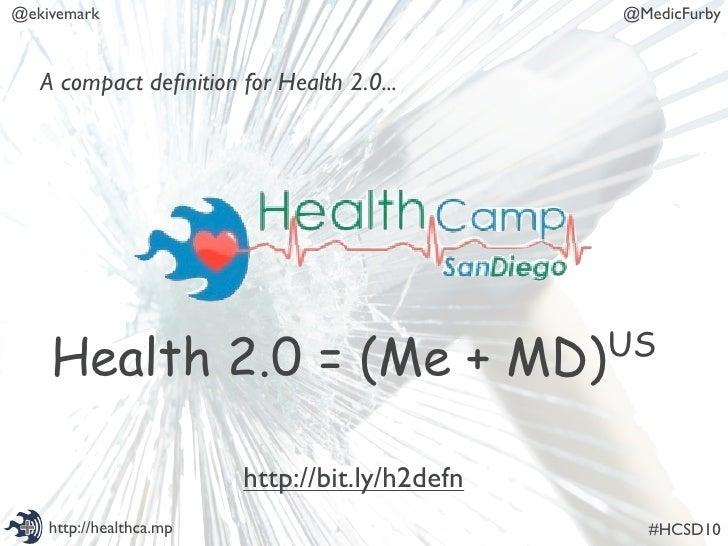@ekivemark                                      @MedicFurby       A compact definition for Health 2.0...         Health 2.0...