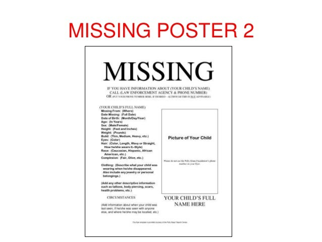 MISSING POSTER 1; 3.  Missing Poster Template