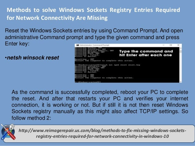 How to fix Missing Windows Sockets Registry Entries required