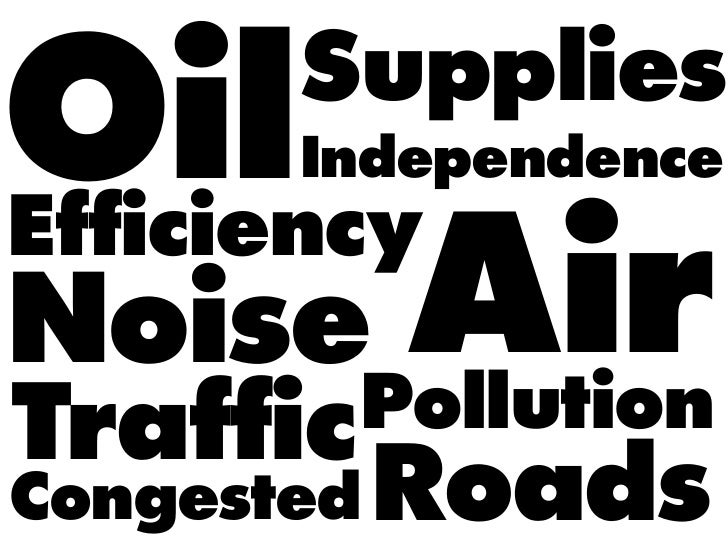 Oil    Supplies       IndependenceEfficiencyNoise     Air        PollutionTrafficCongested   Roads