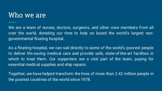 Mission of Charitable Hospital Ship MercyShip Slide 2