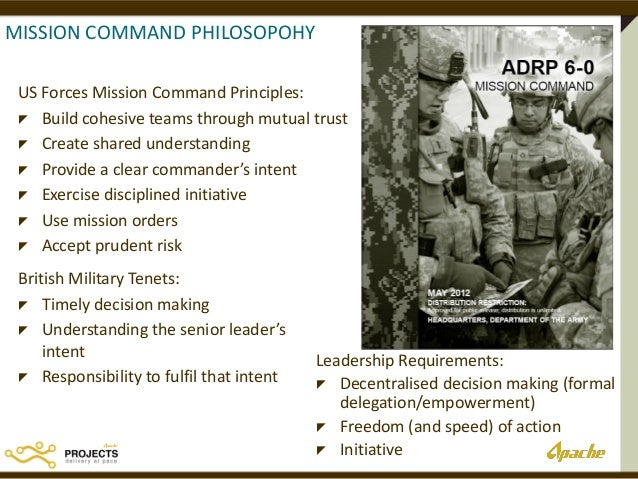 "mission command the utility of a military management and leadership ""a leaders is best when people barely know he exists, when his work is done, his aim fulfilled, they will say: we did it ourselves"" — lao tzu the key is to balance them and know when to use each one in the book, the ""the us army, in this formal theory of warfare, contrasts 'detailed command' with 'mission command."