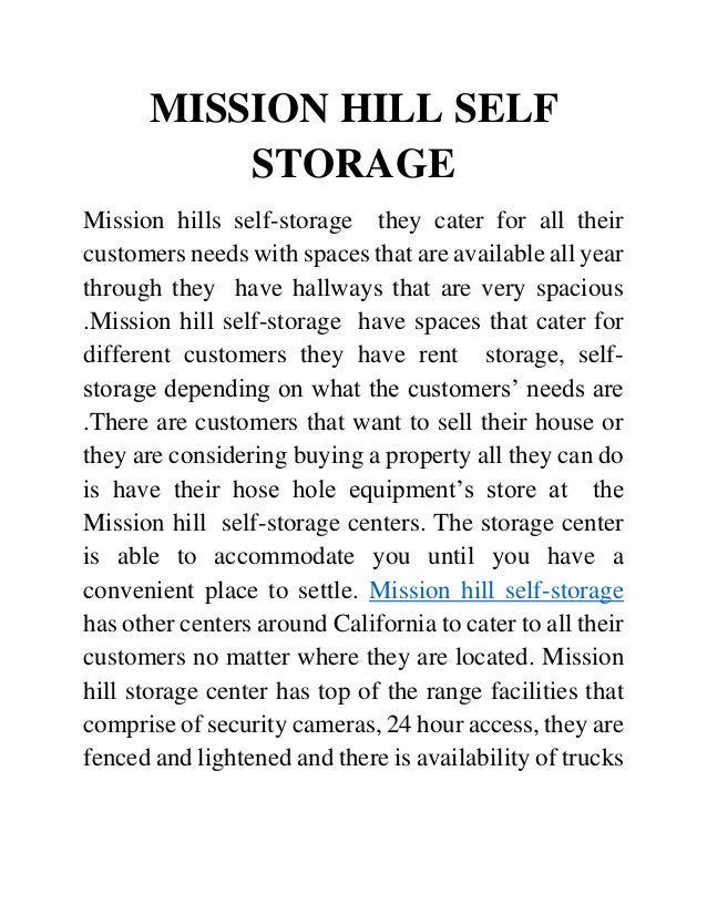 MISSION HILL SELF STORAGE Mission Hills Self Storage They Cater For All  Their Customers Needs ...