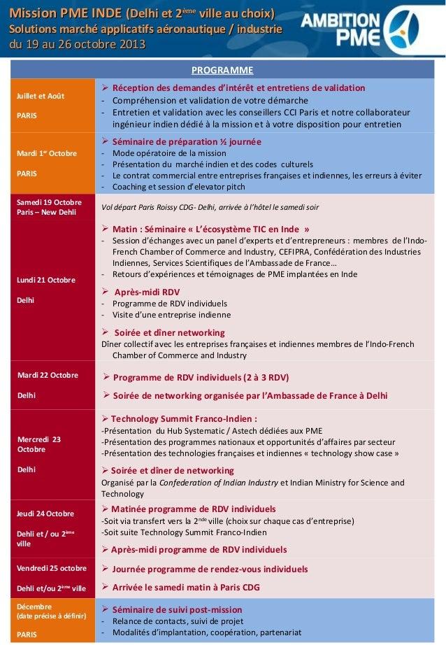 Mission Inde 2013 - accompagnement de PME développant solutions applicatives pour industrie et aéronautique Slide 2