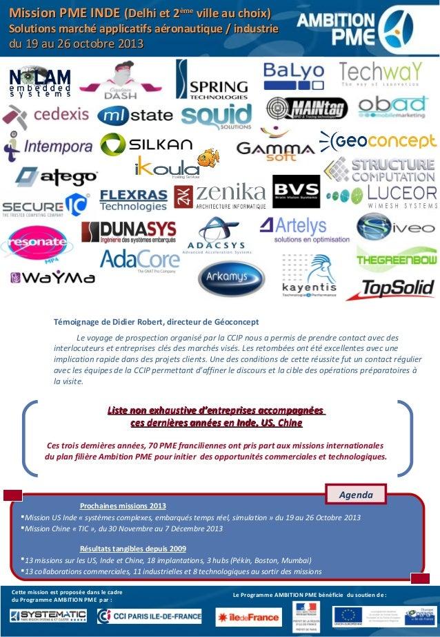 Mission Inde 2013 - accompagnement de PME développant solutions applicatives pour industrie et aéronautique Slide 3