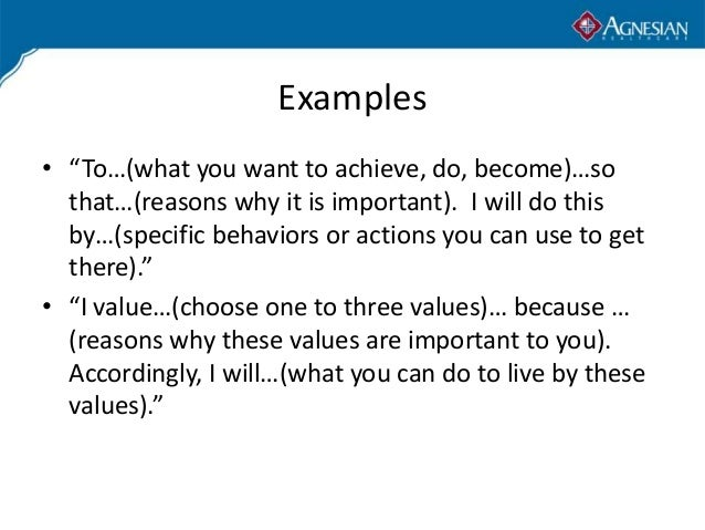 Personal mission statement examples alisen berde for Values statement template