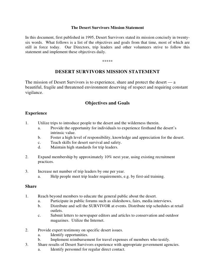 The Desert Survivors Mission StatementIn this document, first published in 1995, Desert Survivors stated its mission conci...