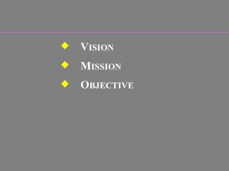 <ul><ul><li>V ISION  </li></ul></ul><ul><ul><li>M ISSION  </li></ul></ul><ul><ul><li>O BJECTIVE  </li></ul></ul>