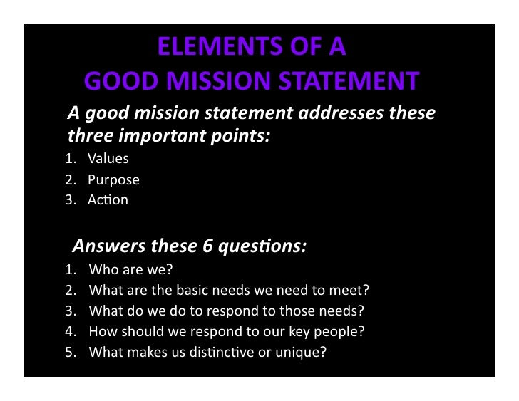elements of a mission and vision statement