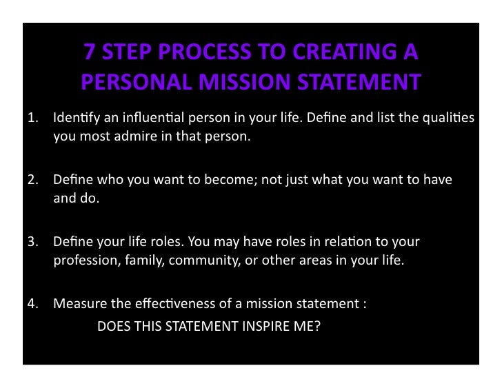 creating a personal mission statement goals values and priorities