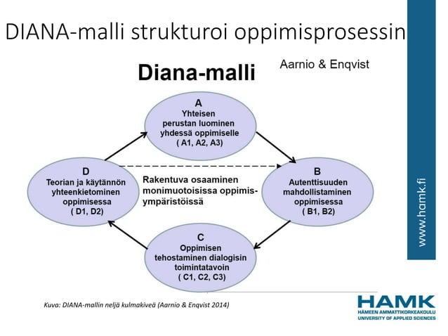 DIANA-malli strukturoi oppimisprosessin Kuva: DIANA-mallin neljä kulmakiveä (Aarnio & Enqvist 2014)