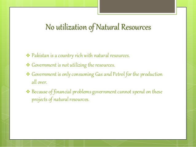 Problems Of Under Utilization Of Natural Resources
