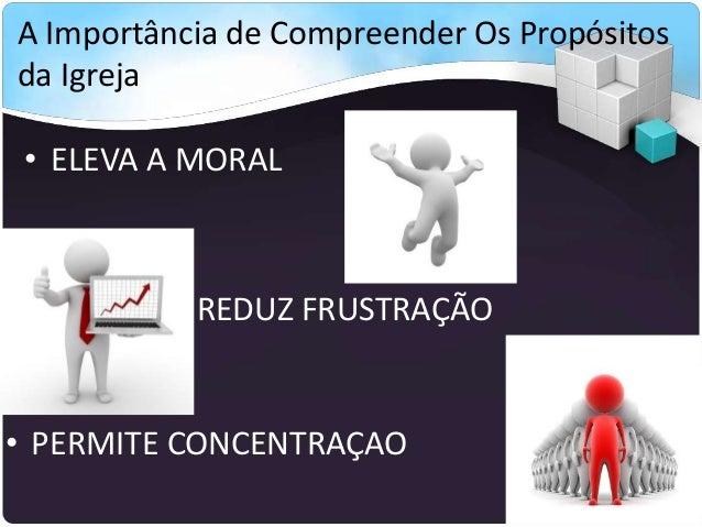 A Importância de Compreender Os Propósitos da Igreja • ELEVA A MORAL • REDUZ FRUSTRAÇÃO • PERMITE CONCENTRAÇAO
