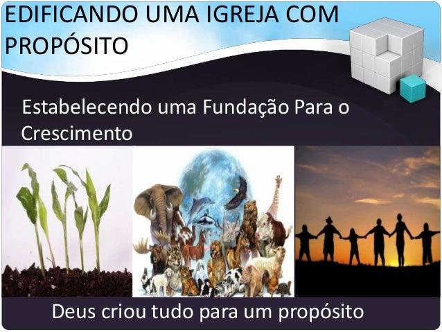 EDIFICANDO UMA IGREJA COM PROPÓSITO Estabelecendo uma Fundação Para o Crescimento Deus criou tudo para um propósito