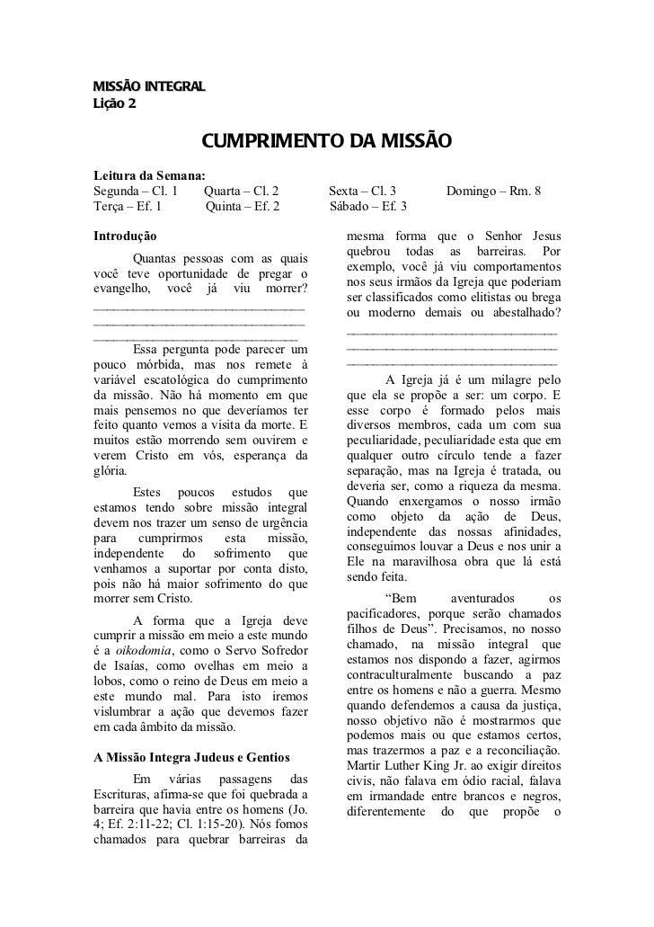 MISSÃO INTEGRALLição 2                    CUMPRIMENTO DA MISSÃOLeitura da Semana:Segunda – Cl. 1   Quarta – Cl. 2         ...