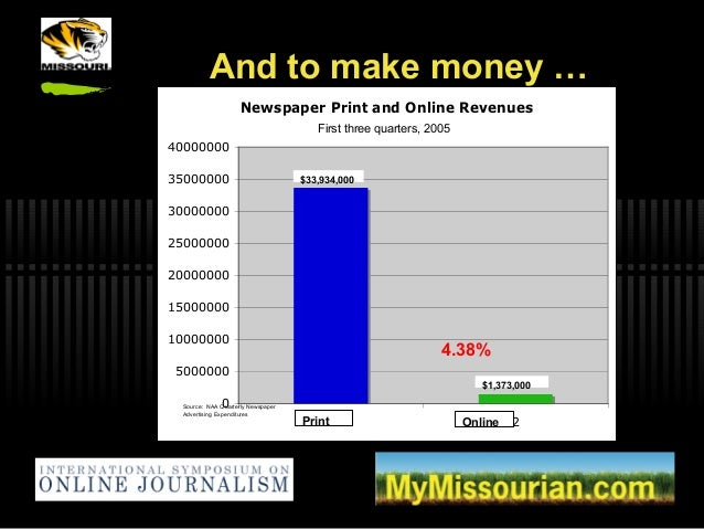 First three quarters, 2005 And to make money … Newspaper Print and Online Revenues 0 5000000 10000000 15000000 20000000 25...