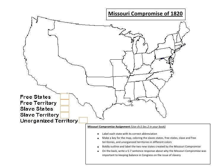 Blank Map Of Us Before Missouri Compromise - Missouri compromise interactive map